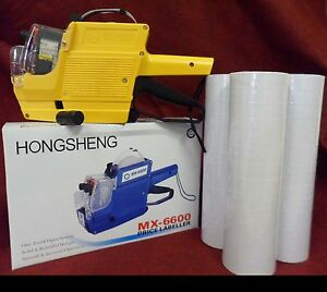 Mx 6600 10 Digits 2 Lines Price Tag Gun Labeler 1 Ink 42 Rolls White 500 Tags