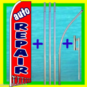 Auto Repair 15 Swooper Flag Pole Kit Advertising Sign Feather Flutter Banner