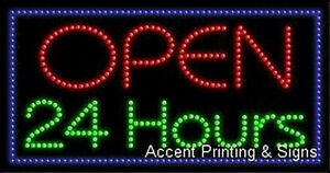 Open 24 Hours High Impact Eye catching Led Sign