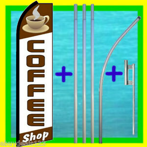 Coffee Shop Swooper Flag 15 Tall Pole Kit Feather Flutter Bow Banner