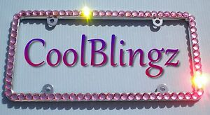 Big Pink Crystal Rhinestone Bling License Plate Frame Made W Swarovski Elements