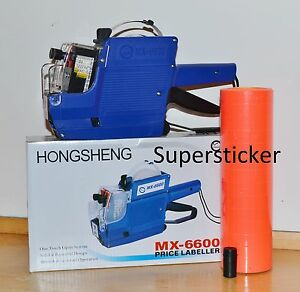 Mx 6600 10 Digits 2 Lines Price Tag Gun Labeler 1 Ink 5000 Red Tags