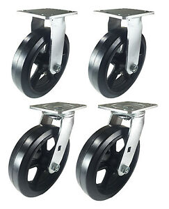 8 X 2 Heavy Duty rubber On Cast Iron Caster 2 Swivels And 2 Rigids