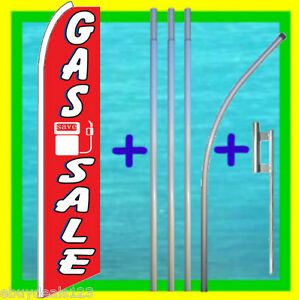 Gas Sale 15 Banner Flag Kit W Mount Advertising Sign Bow Feather Swooper