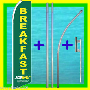 Subway Breakfast 15 Tall Feather Flag Kit Advertising Sign Swooper Bow Banner