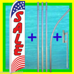 Sale Usa 15 Tall Feather Flag Kit Advertising Sign Swooper Bow Flutter Banner
