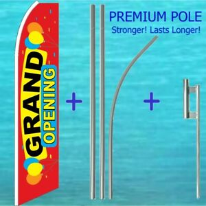 Grand Opening Feather Flag Pole Kit Advertising Sign Swooper Flutter Banner