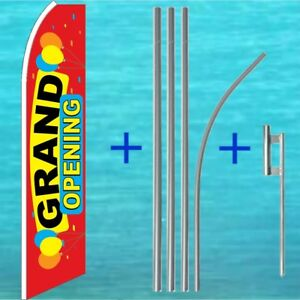 Grand Opening Feather Ad Flag Pole Kit Advertising Sign Swooper Flutter Banner