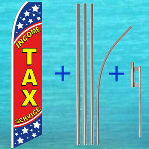 Income Tax Service Feather Flag 15 Tall Pole Mount Swooper Flutter Banner