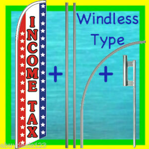 Income Tax Windless 15 Banner Flag Advertising Sign Kit Feather Swooper Flutter