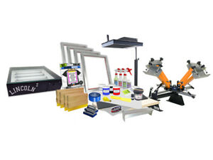 Screen Printing Press 4 Color 2shirt 18 Flash Dryer Exposure Unit Equipment Kit