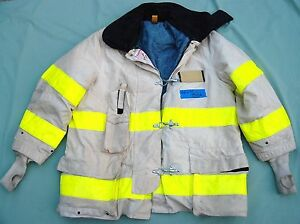 Cairns Firefighter Turnout Chief Jacket Size 48x35 White 93 A