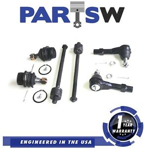 6 Piece Aftermarket Front Suspension Steering Kit Tie Rod Ball Joint Replacement