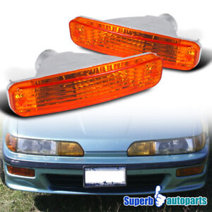For 1990 1991 Acura Integra Bumper Lights Turn Signal Lamps Left Right