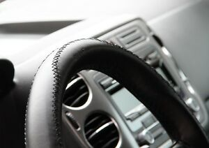 Black Pvc Leather Steering Wheel Stitch Wrap Cover W Needle Thread Diy Gmc Honda