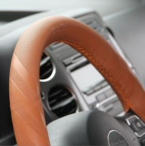 Brown Pvc Leather Steering Wheel Wrap Cover W Needle Thread Diy Fit Fiat Charger