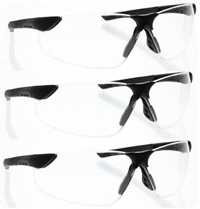 3 Pairs Lot Black Clear Safety Glasses Flexible Z87 sghega Protective Wholesale