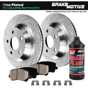 Rear Drill Slot Brake Rotors And Ceramic Pads For Aspen Dodge Durango Ram 1500