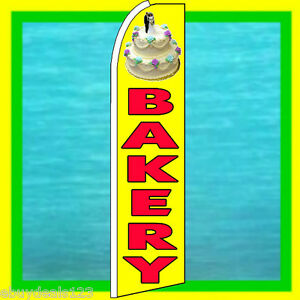 Bakery W Cake Swooper Flag Advertising Sign Feather Flutter Bow Banner