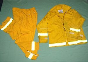 Firefighter Wildland brush Fire Jacket Pants W reflector Stripes