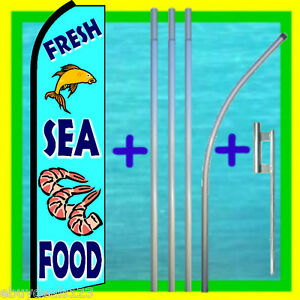 Fresh Sea Food Swooper Flag 15 Tall Pole Mount Feather Flutter Bow Banner