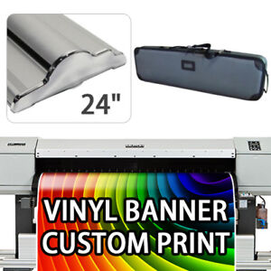 Retractable Roll Up Banner Stand Height Adjustable Display Hd 24 With Print