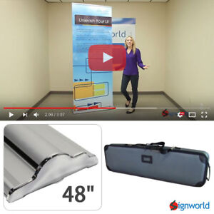 Retractable Roll Up Banner Stand Height Adjustable Trade Show Display Hd 48