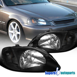 For 1999 2000 Honda Civic Ek Ex Lx Si Jdm Headlights Head Lamps Black