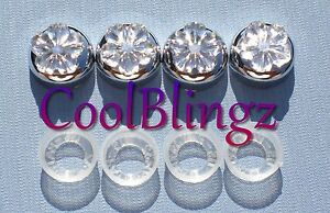 Clear Flower Rhinestone Screw Caps For Crystal Bling Sparkle License Plate Frame