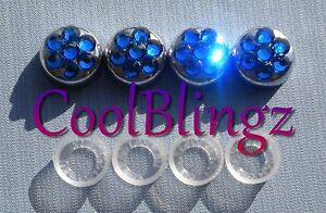 Capri Blue Crystal Screw Caps For License Plate Frame Made W Swarovski Elements