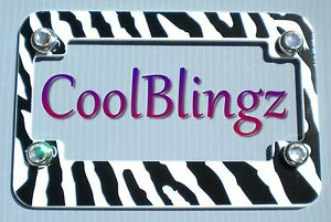Zebra Motorcycle License Plate Frame And Crystal Caps Made W Swarovski Elements