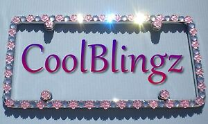 Big Clear Crystal Rhinestone Lt Pink Flowers Bling License Plate Frame Caps