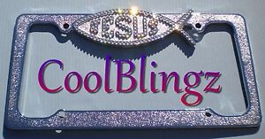 Crystal Jesus Ichthus Fish Bling License Plate Frame Made W Swarovski Elements