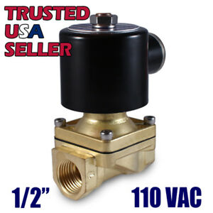 1 2 110v Ac Electric Brass Solenoid Valve Water Gas Air 110 120 Vac Viton Seal
