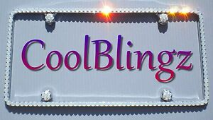 Thin White Opal Crystal License Plate Frame Caps Made With Swarovski Elements