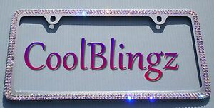 2 Row Crystal Ab Bling License Plate 2 Hole Frame Made With Swarovski Elements