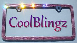 3 Row Pink Crystal Bling License Plate 2 Hole Frame Made W Swarovski Elements