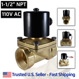 1 1 2 110 Volts Ac Electric Brass Solenoid Valve Water Air 110 120 Vac