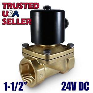 1 1 2 24v Dc Electric Brass Solenoid Valve Water Air Gas 24 Vdc Free Shipping