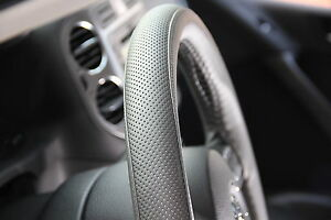 Grey Pvc Leather Steering Wheel Wrap Cover Needle Thread Diy Fit Chevy Dodge