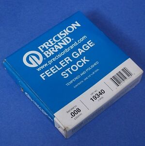 Precision Brand 008 Thickness 1 2 X 25 Coil Feeler Gage Stock 19340 new