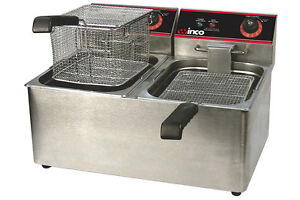 Winco Countertop Commerical Deep Fryer Twin Well 32 Lbs Oil Capacity Eft 32