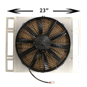 Custom Built Adjustable Aluminum Shroud W 16 Spal 30102120 Electric Pull Fan