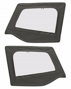 1988 1995 Jeep Wrangler Soft Top Front Upper Door Windows Skins Black Denim Pair