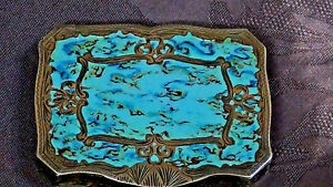 Antique Italian Sterling Silver Enamel Hand Painted Marblezed Compact Gold Wash
