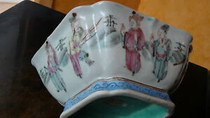 Antique 18c Chinese Famille Rose Porcelain Square Shaped Bowl Dynasty Mark