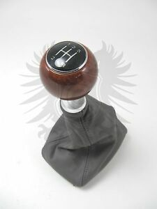 Genuine Oem Audi A4 A6 8e 5 Speed Grey Leather Wood Chrome Shift Knob Boot