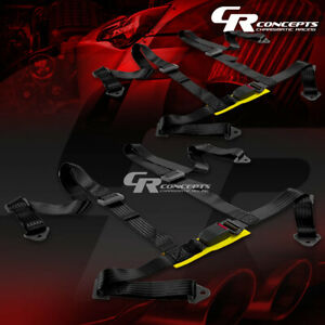 2 X Universal 4 Point 2 Nylon Strap Racing Harness Buckle Seat Belt Belts Black