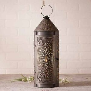 22 Decorative Punched Tin Chimney Lantern In Blackened Tin