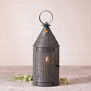 15 Decorative Punched Tin Revere Lantern In Blackened Tin By Irvins Country